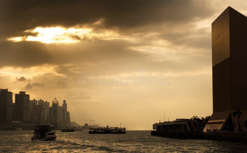 Cityscape of Victoria harbor in Hong Kong stock photos
