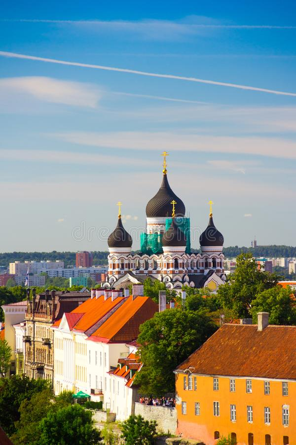 Cityscape view with Alexander Nevsky Cathedral, an orthodox cathedral in the Tallinn Old Town, Estonia. royalty free stock images