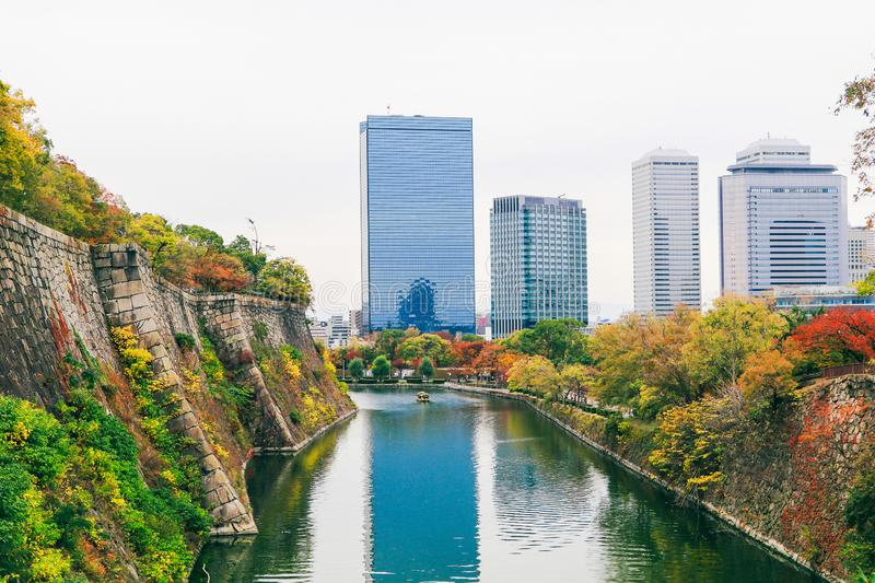 Cityscape view around castle park,one of the most famous landmark in Osaka, Japan royalty free stock photography
