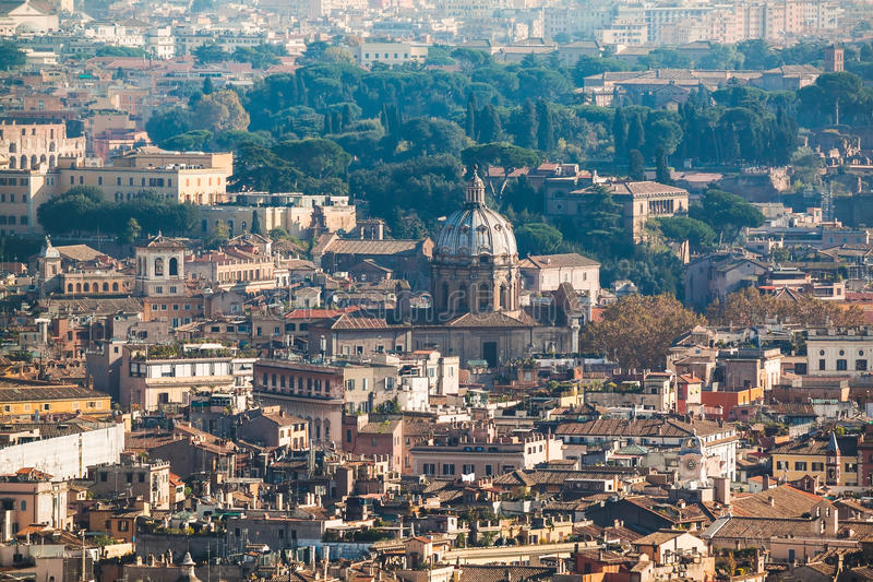 Cityscape view of central Rome taken from St Peter Basilica royalty free stock photo