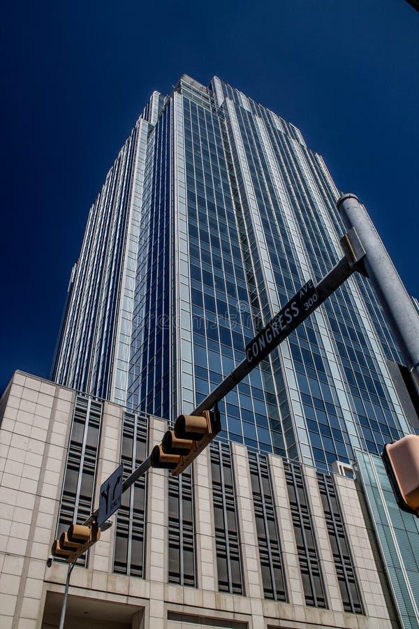 Glass High Rise Building Downtown Austin Texas stock photo