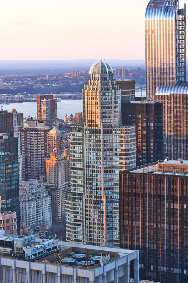 Cityscape view of Manhattan at sunset stock photo