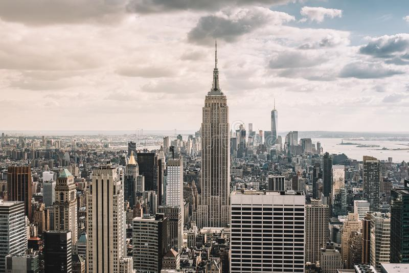 Cityscape. View of New York city skyline. Downtown Manhattan. Aerial view of New York city skyline stock photo
