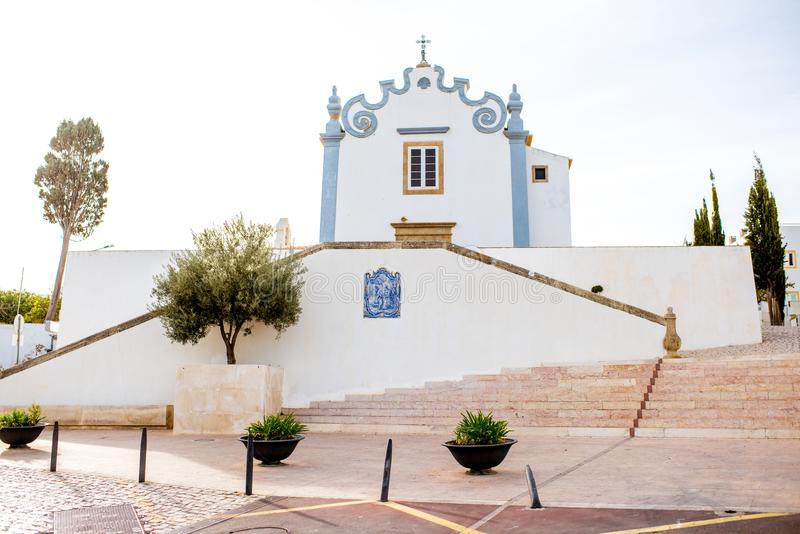 Albufeira town in Portugal. Cityscape view on the old town with saint Anna church in Albufeira city on the south of Portugal stock image