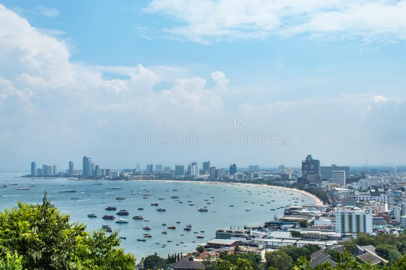Cityscape view point of Pattaya beaches. royalty free stock images