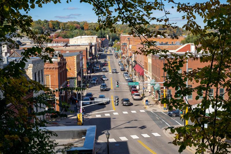 Cityscape view of Stillwater Minnesota from an aerial overlook in the fall.  royalty free stock photography