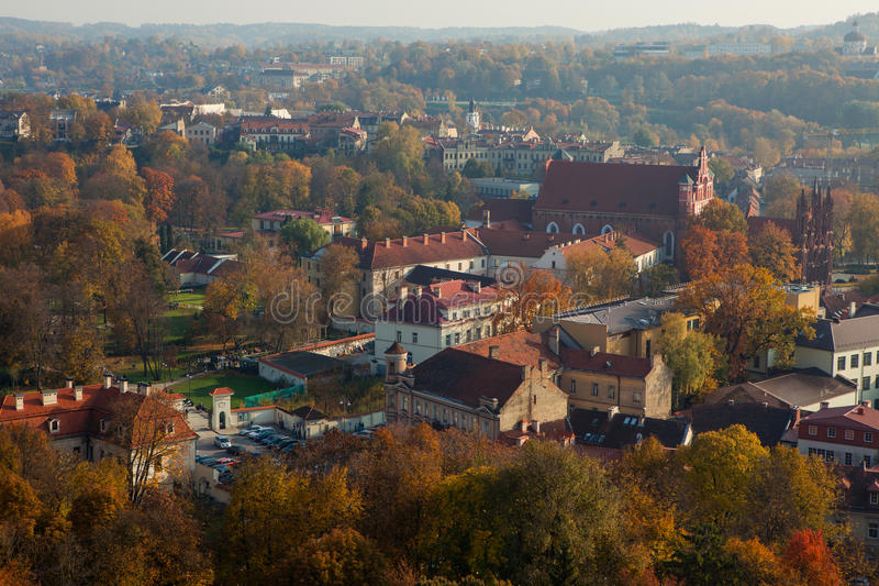 Cityscape of Vilnius old town in the autumn royalty free stock image