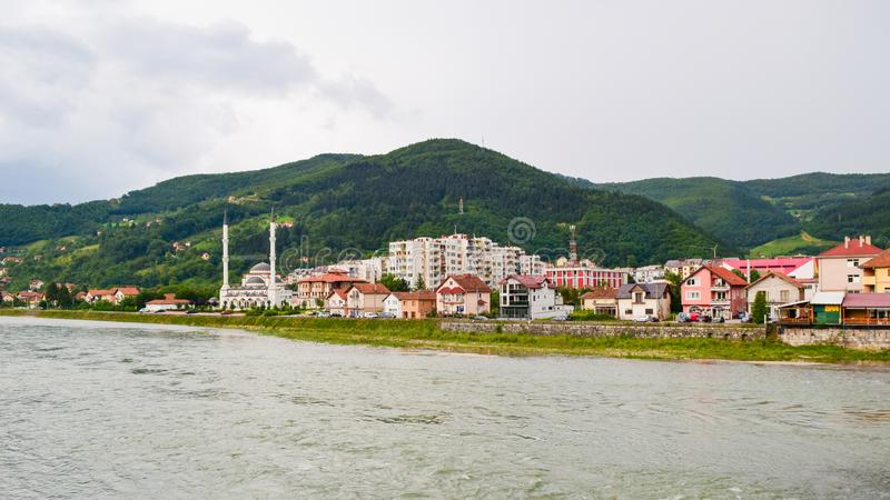 The Cityscape Visegrad. Cityscape Visegrad on the banks of the Drina River, Bosnia and Herzegovina royalty free stock images