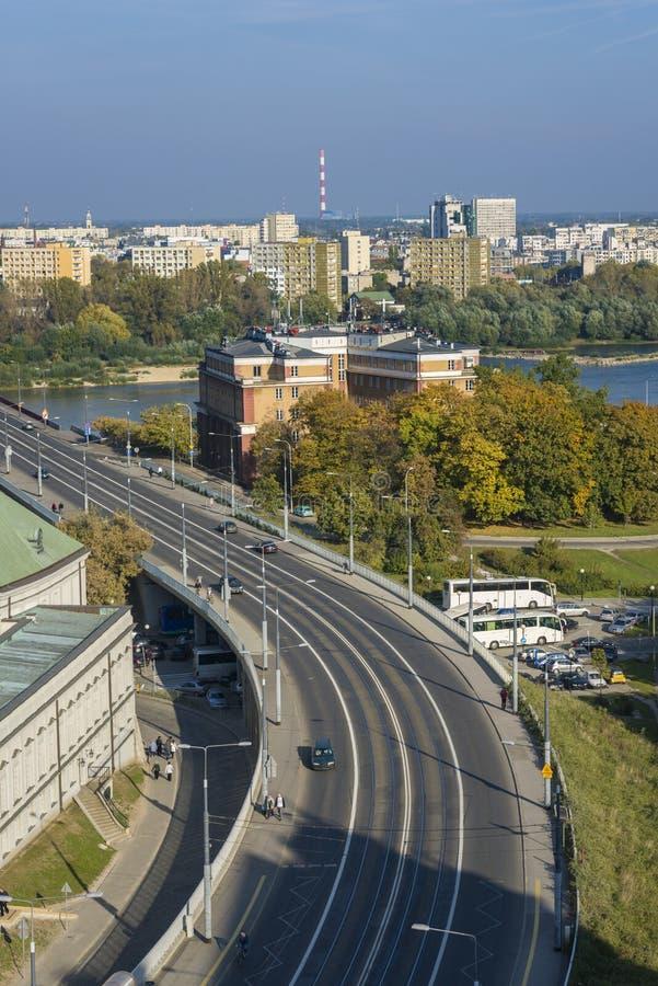 Cityscape of Warsaw, Poland, Slasko-Dabrowski bridge. royalty free stock photography