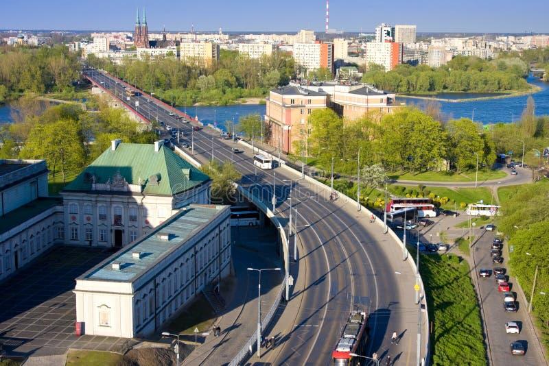 Cityscape of Warsaw, Poland, Slasko-Dabrowski bridge, Praga district behind the Vistula river stock photography