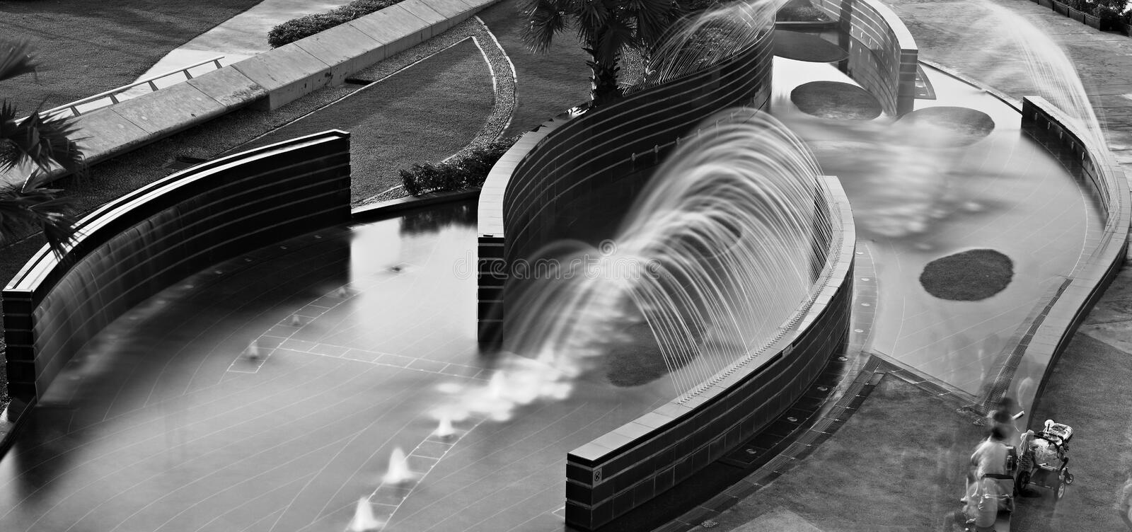 Cityscape water fountain singapore stock images