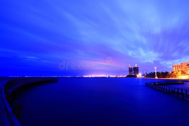Cityscape With Water Sunrise Twilight Royalty Free Stock Photo