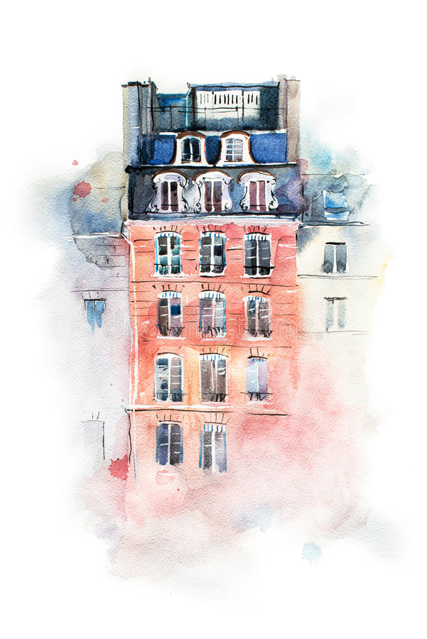 Cityscape watercolor drawing, hand drawn aquarelle painting. stock illustration