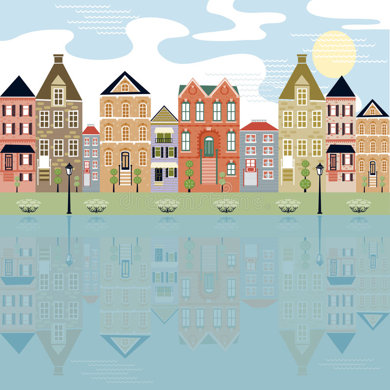 Cityscape on the waterfront stock illustration