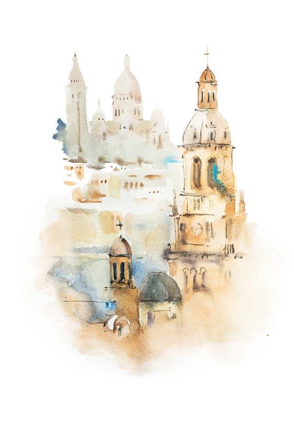 Cityscape waterverftekening, hand het getrokken aquarelle schilderen stock illustratie