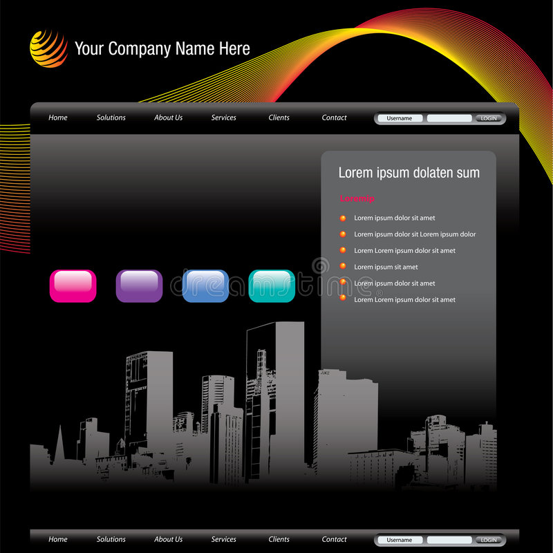 Cityscape website template. Website template with a cityscape theme. Vector format available. Room for text