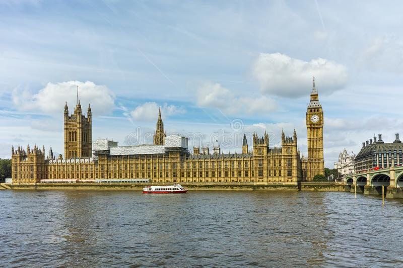 Cityscape of Westminster Palace, Big Ben and Thames River, London, England, United Kingdom royalty free stock image