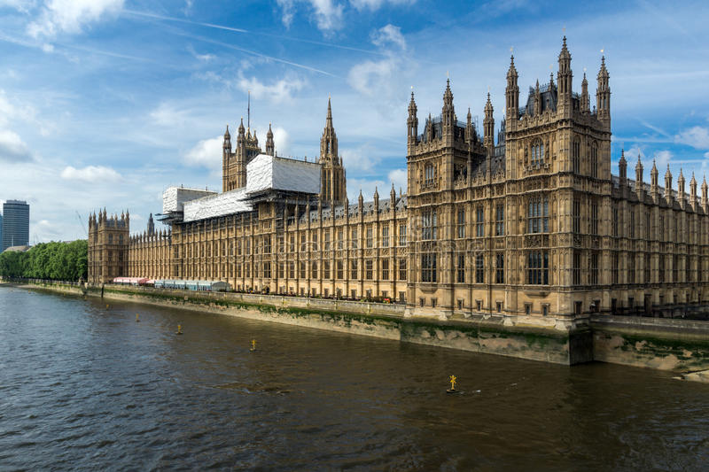 Cityscape of Westminster Palace and Thames River, London, England, United Kingdom stock photos