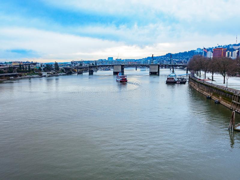 Cityscape of Willamette river in downtown Portland. Cityscape Willamette river, view from Burnside Bridge in downtown Portland royalty free stock photography