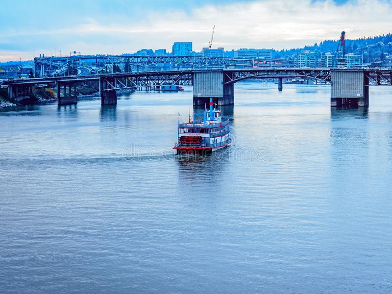 Cityscape of Willamette river in downtown Portland. Cityscape Willamette river, view from Burnside Bridge in downtown Portland royalty free stock photos