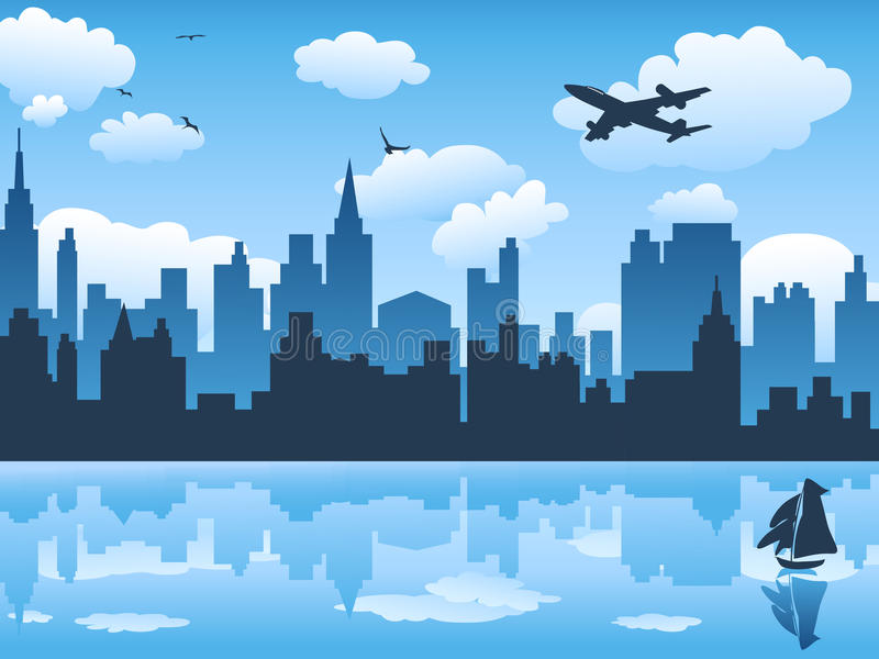 Download Cityscape Wit Blue Sky And Its Reflection Stock Images - Image: 22421924