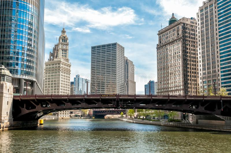 Cityscape with Wrigley Building and Wabash Avenue Bridge from Chicago river, Illinois. royalty free stock photos
