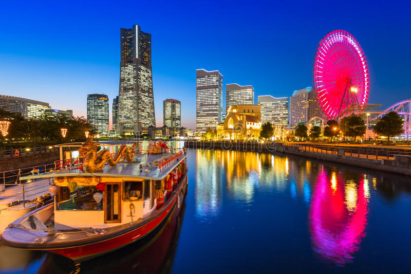 Cityscape of Yokohama city at dusk stock image