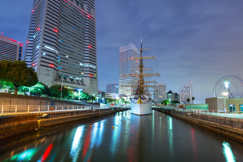Cityscape of Yokohama city at night stock images