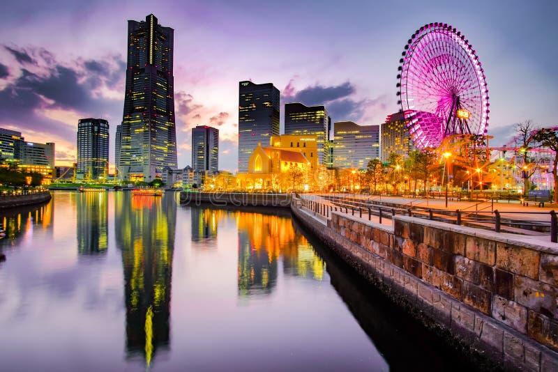 Cityscape of Yokohama Minato Mirai at night. Japan stock photos