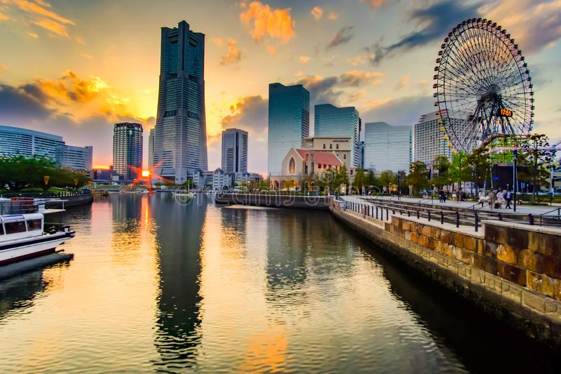 Cityscape of Yokohama Minato Mirai at sunset. Japan landmark and popular for tourist attractions royalty free stock images