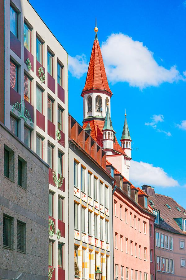 Cityscape with Zodiac Clock Tower of Old City Hall in Munich city center, Germany.  stock image