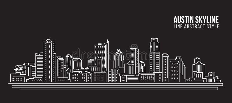 Cityscapebyggnadslinje design för konstvektorillustration - Austin horisontstad stock illustrationer
