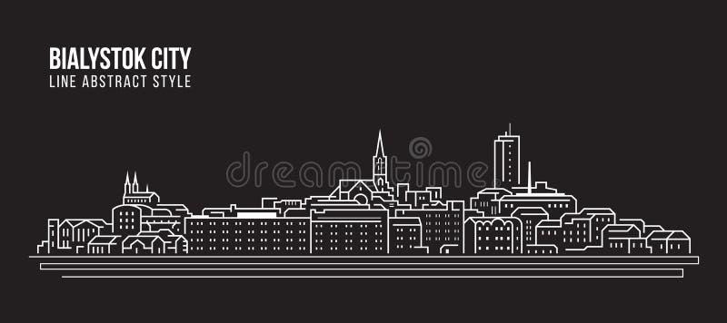 Cityscapebyggnadslinje design för konstvektorillustration - Bialystok stad royaltyfri illustrationer