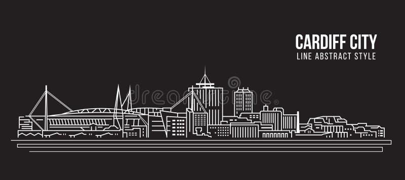 Cityscapebyggnadslinje design för konstvektorillustration - Cardiff stad vektor illustrationer