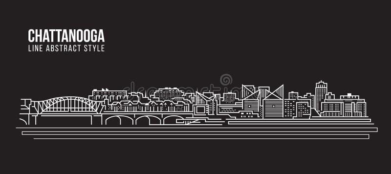 Cityscapebyggnadslinje design för konstvektorillustration - Chattanooga stad vektor illustrationer