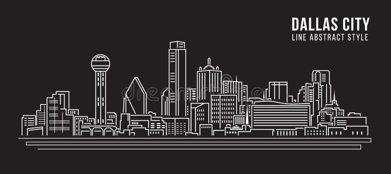 Cityscapebyggnadslinje design för konstvektorillustration - Dallas City vektor illustrationer