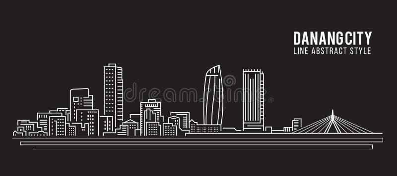 Cityscapebyggnadslinje design för konstvektorillustration - Danang stad royaltyfri illustrationer