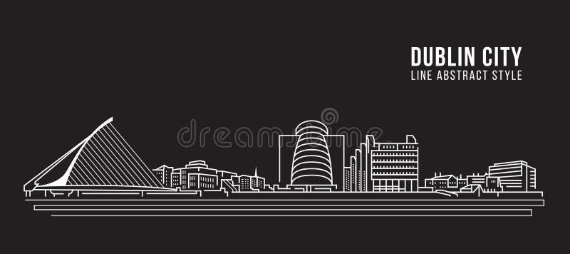 Cityscapebyggnadslinje design för konstvektorillustration - Dublin stad royaltyfri illustrationer