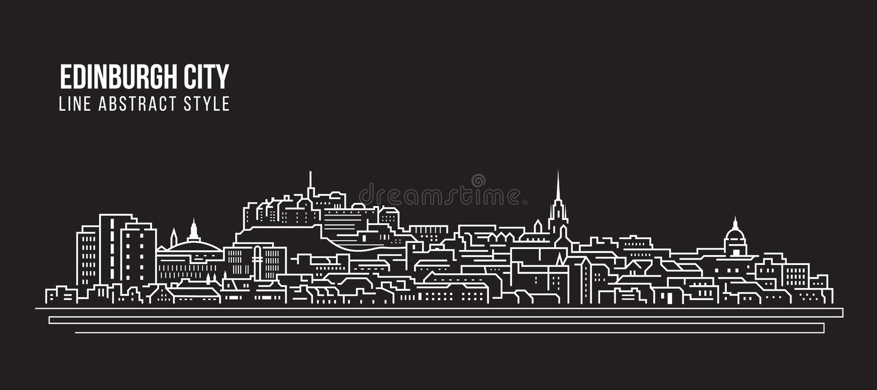 Cityscapebyggnadslinje design för konstvektorillustration - Edinburgstad royaltyfri illustrationer