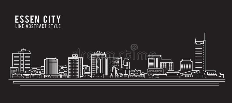 Cityscapebyggnadslinje design för konstvektorillustration - Essen stad vektor illustrationer