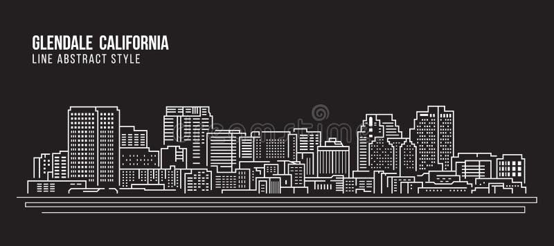 Cityscapebyggnadslinje design för konstvektorillustration - Glendale Kalifornien stad vektor illustrationer