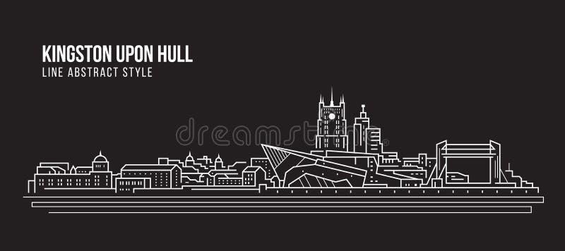 Cityscapebyggnadslinje design för konstvektorillustration - Kingston på skrovstad royaltyfri illustrationer