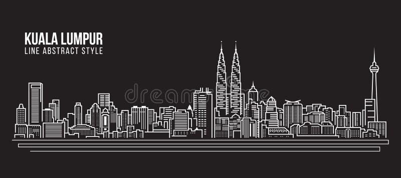 Cityscapebyggnadslinje design för konstvektorillustration - Kuala Lumpur horisont royaltyfri illustrationer