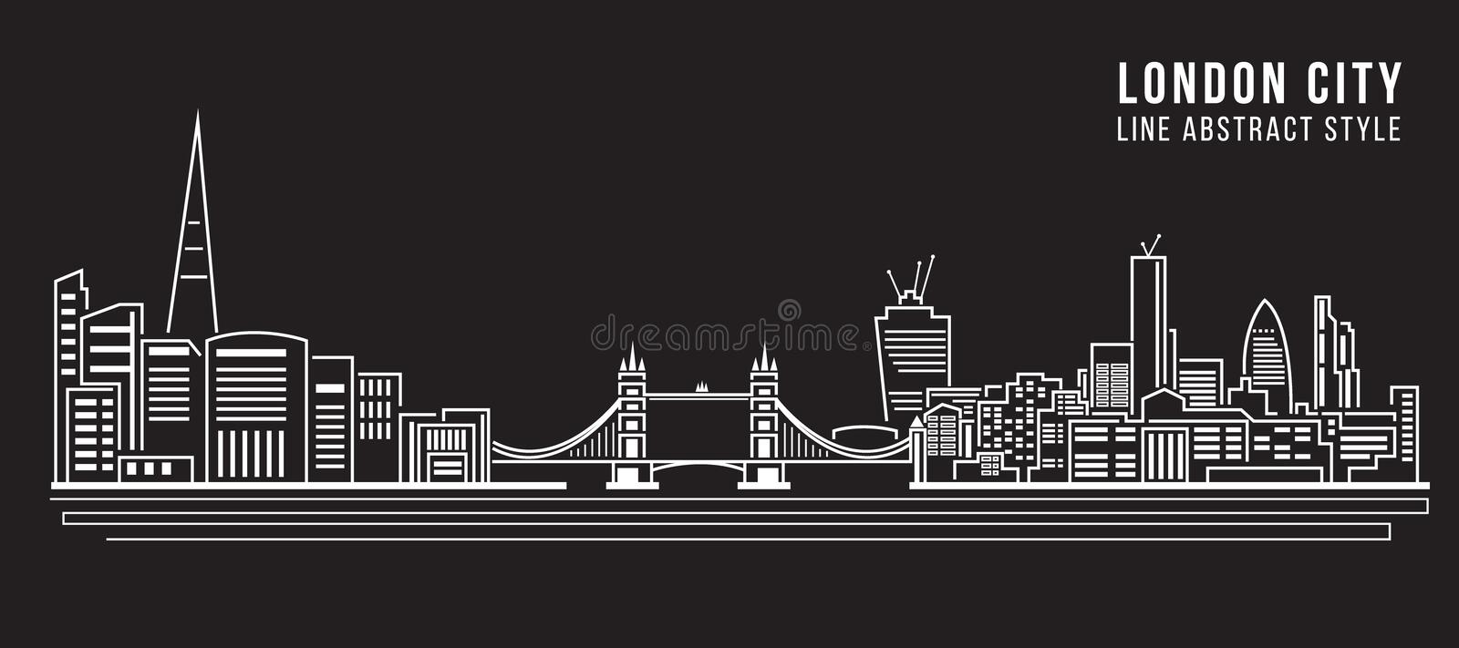 Cityscapebyggnadslinje design för konstvektorillustration - London stad stock illustrationer
