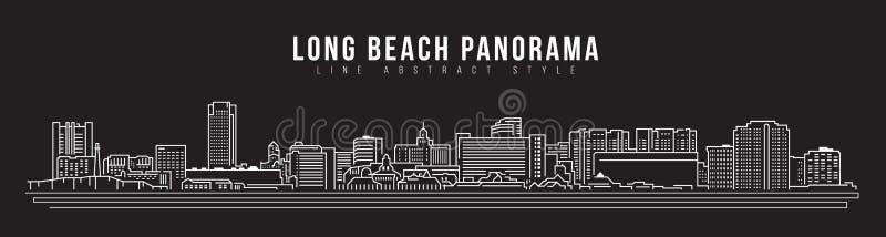 Cityscapebyggnadslinje design för konstvektorillustration - Long Beach stadspanorama royaltyfri illustrationer
