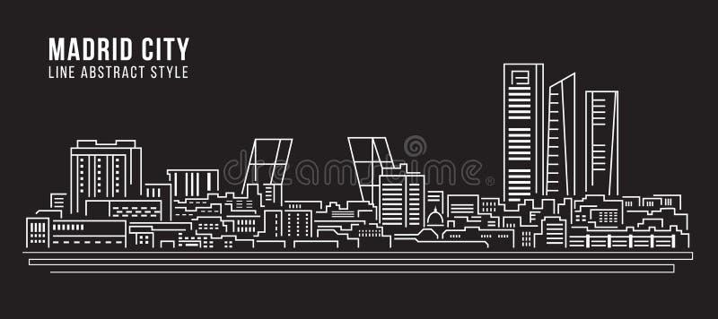 Cityscapebyggnadslinje design för konstvektorillustration - Madrid stad vektor illustrationer