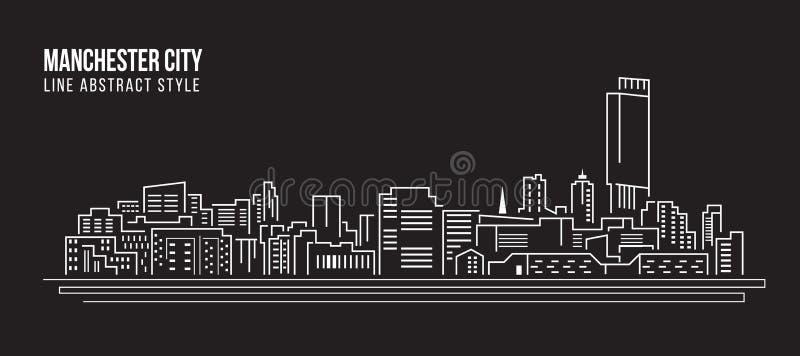 Cityscapebyggnadslinje design för konstvektorillustration - Manchester City royaltyfri illustrationer