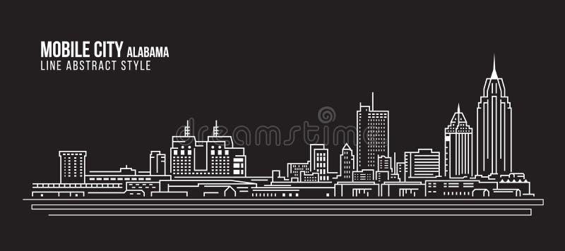 Cityscapebyggnadslinje design för konstvektorillustration - mobil stad Alabama vektor illustrationer