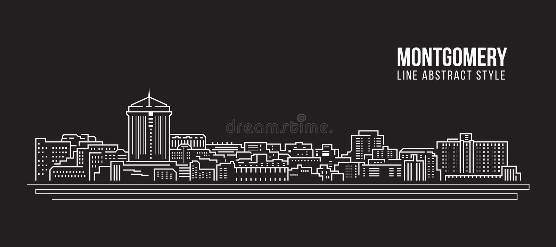 Cityscapebyggnadslinje design för konstvektorillustration - Montgomery stad stock illustrationer
