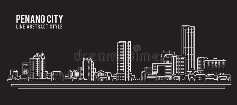 Cityscapebyggnadslinje design för konstvektorillustration - Penang stad stock illustrationer